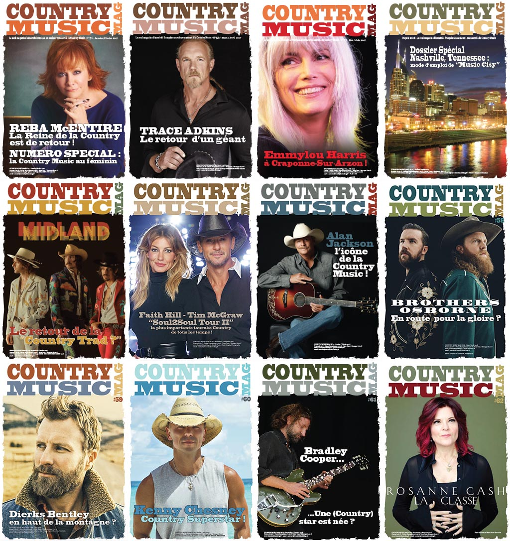 12 last issues of Country muisc Mag, France, the only french magazine published sionce 2008 and 62 issues dedictaed to US Country Music