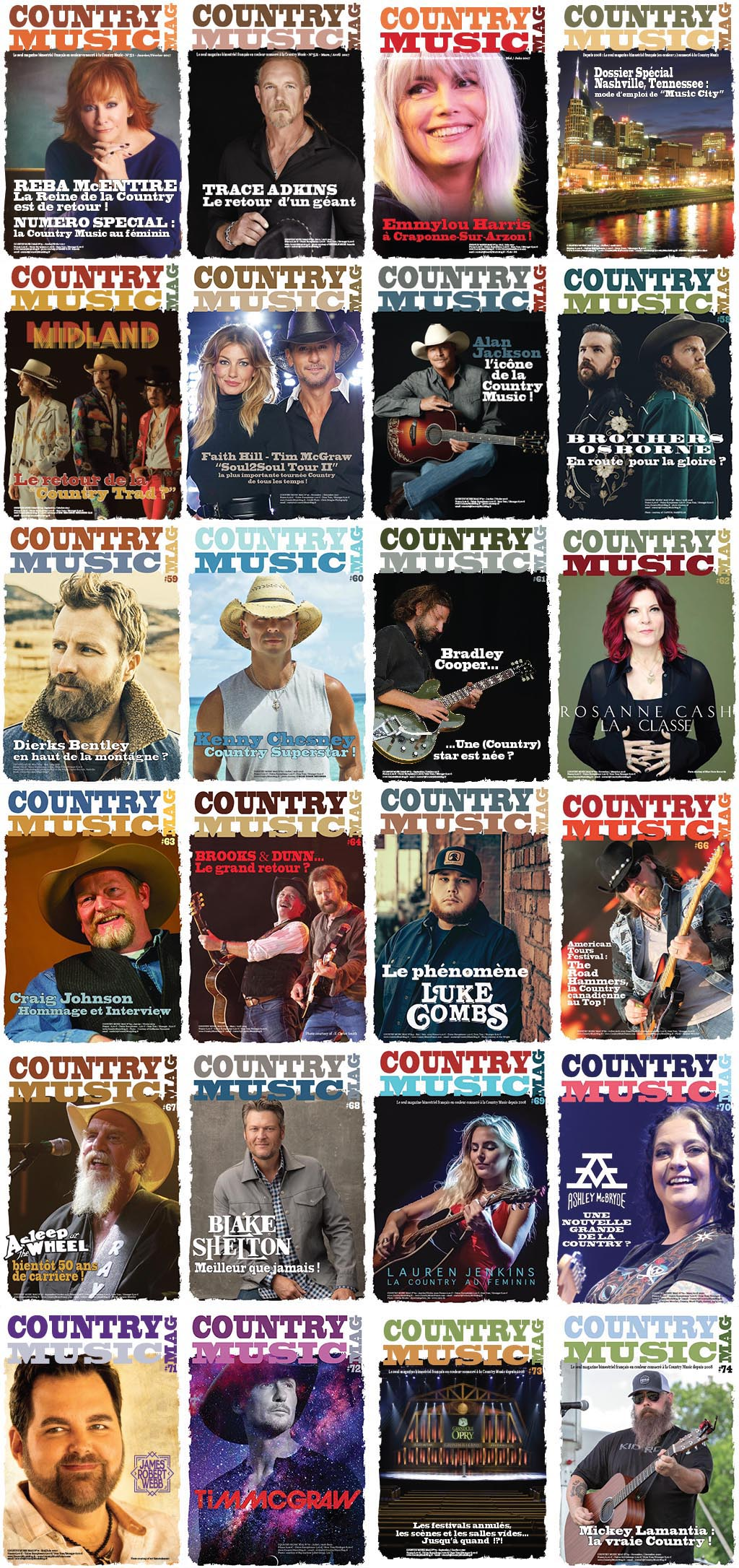 Country music Mag, France 24 issues covers